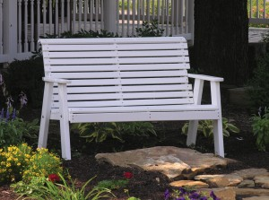 Amish Made Plain Back Polywood Outdoor Bench